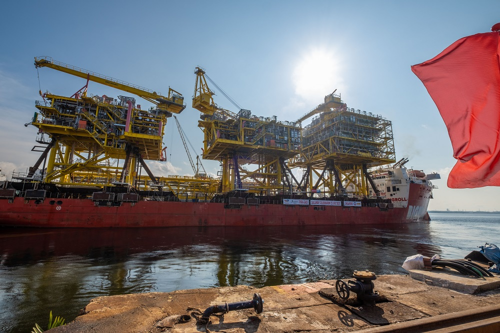 Topsides and bridges of Tyra Redevelopment Project ready for sail-away from Sembcorp Marine Admiralty Yard.jpg