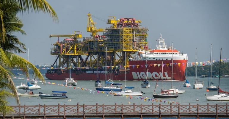 Topsides and bridges of Tyra Redevelopment Project sailed away Sembcorp Marine Admiralty Yard on 25 July 2021.jpg