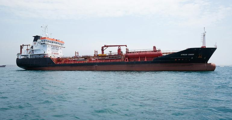 Monajsa tanker African Chaser at Luanda Anchorage. Courtesy of Monjasa
